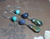 Turquoise Earrings Long Gemstone Earrings Wire Wrapped Silver Dark Dumortierite Rustic Jewelry