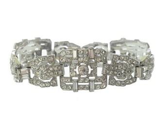 Antique Bracelet Designer Art Deco KTF, Vintage Trifari Krussman Fishel, Fine Art Deco Wedding Jewelry, Statement Jewellery