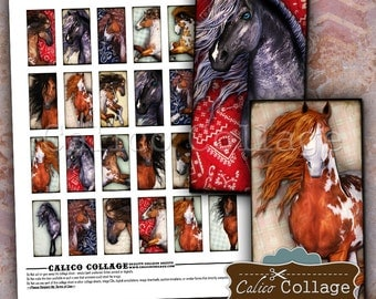 Horse Collage Sheet, Domino Collage Sheet, 1x2 Domino Images, Images for Pendants, Digital Download, Printable Ephemera, CalicoCollage