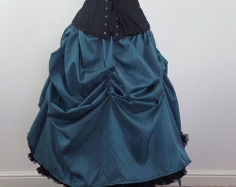 Clearance Deep Teal Knee Length Tie On Cabaret Bustle Skirt-One Size Fits All