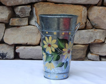 Hand Painted Metal Tin with Handles and Yellow Daisies