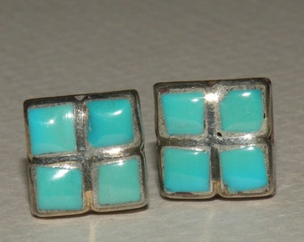 Turquoise and Sterling Petite 4 stone Pierced Earrings