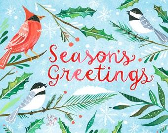 Season's Greetings Art Print   Watercolor Lettering   Christmas Wall Art   Katie Daisy   8x10