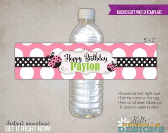 Pink Ladybug Water Bottle Label Template, Custom Ladybug Girl's Birthday Party Decoration, Instant Download #B111