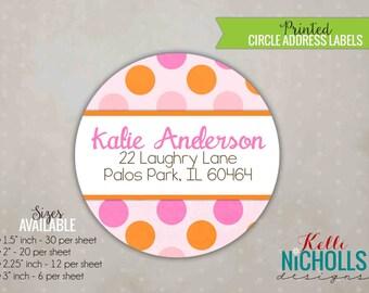 Pink & Orange Polka Dot Return Address Labels, Custom Sticker Address Label #B110