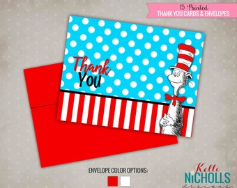 Cat in the Hat Birthday Party Thank You Notes, Dr. Seuss Thank You Cards #B112