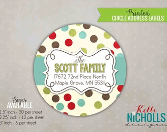Polka Dot Christmas Envelope Seal Stickers, Personalized Round Return Address Labels, Green, Brown, Red #20
