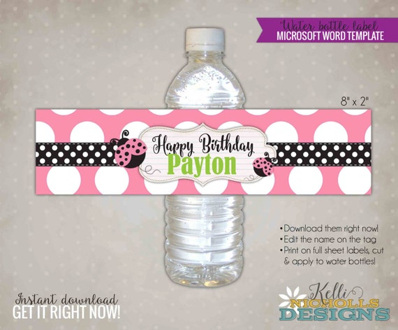 Pink ladybug water bottle label template custom ladybug for Personalized water bottle label template