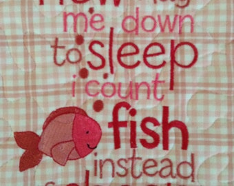 Quilted Wall Hanging . . . Now I Lay Me Down To Sleep I Count FISH Not Sheep . . . It's PINK . . . Metal Hanger Included