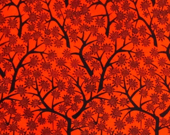 African Fabric 1/2 Yard Cotton ORANGE BLACK Floral Branches Abstract