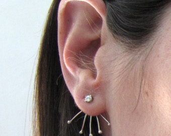 Cubic zirconia Ear Jacket studs,  Cubic Zirconia Studs, Silver and cubic zirconia earrings
