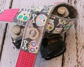 Sugar Skull Camera Strap.  dSLR Camera Strap.  Camera Strap.  Camera Strap for Canon, Nikon.  Cute Camera Strap.  Photographer Gift.
