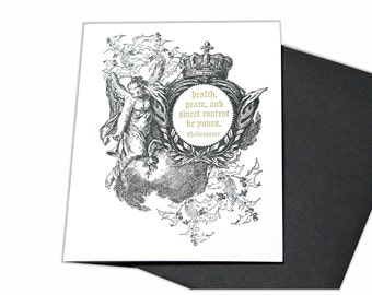 Letterpress Holiday Christmas Cards with Heavenly Angel and Shakespeare Quote