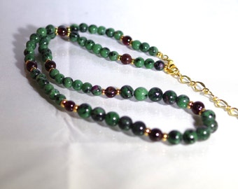 """Gemstone Jewelry - Ruby & Zoisite with Garnet - 20"""" Necklace with 4"""" Extension"""