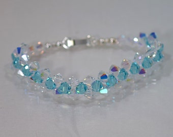 Swarovski Crystal Jewelry - Light Turquoise and Crystal AB Bracelet - Any Color