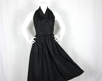 50% Off Sale Vintage 1950s Marilyn / Betty Draper Black Satin Halter Dress, Sz S