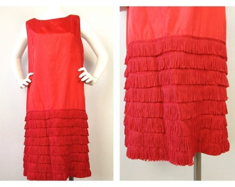 Vintage 60s Does 20s Red Satin Flapper Dress / Costume, Sz L