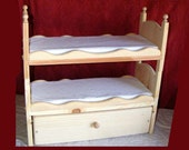 Stackable American Girl Doll Bunk Bed with Trundle Featuring Beautiful Scalloped Sides with Mattresses and a Ladder