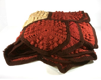 Vintage Crocheted Afghan, Chocolate Brown, Brick, Pumpkin and Cream, Six-Sided Shapes, Raised Popcorn Texture