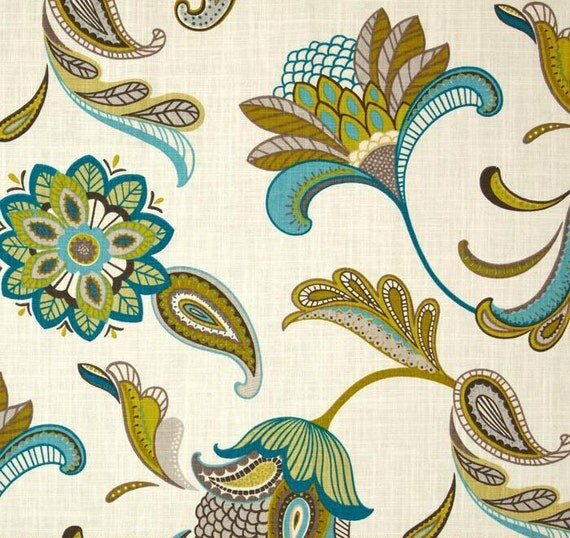 Modern Window Curtain With Flower Design: Teal Window Curtains Modern Floral Drapes Turquoise Blue