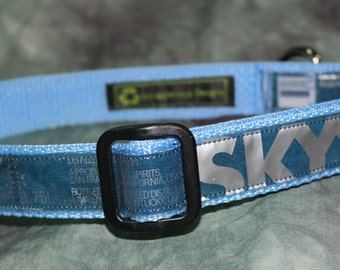 Adjustable Dog Collar from Recycled Skyy Vodka Labels