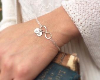 Friendship bracelet, Sisters bracelet, infinity bvracelet with initialas, sterling silver bracelet, personalized bracelet, best friends