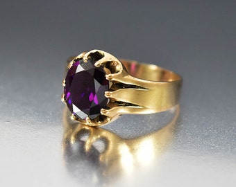 Antique Amethyst Ring, 10K Gold Amethyst Engagement Ring, Victorian Ring, Antique Ring, Birthstone Ring, Alternative Wide Wedding Band Ring