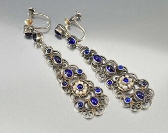 Austro Hungarian Sapphire Earrings, Chandelier Earrings, Victorian Earrings Silver Chandelier Dangle Earrings Pearl Earrings Antique Jewelry