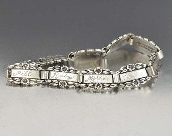 Forget Me Not Bracelet, Engraved Monogram Personalized, Sterling Silver Sweetheart Bracelet Vintage 1940s Name Bracelet, Vintage Jewelry