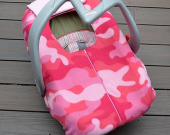 Pink Camo Cover for Baby Car Seat, Winter Baby Accessory, Girl Camoflauge