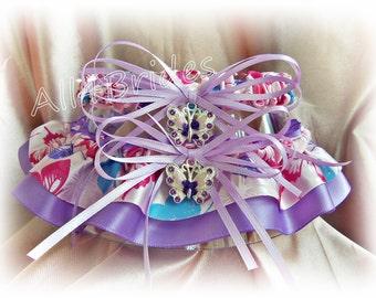 Wedding garter set, butterfly bridal garters, lavender and pink butterfly keepsake and toss garters