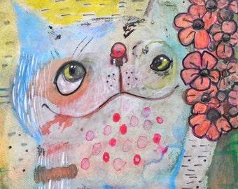 OOAK Original Happy Blue Cat on Aquabord