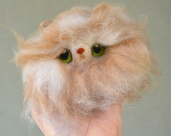 Needle Felted Cashmere and Camel Top Wool Persian Long Haired Ginger Cat