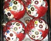 Day of the Dead Christmas ornaments#Mexican Sugar Skull #Dia de los Muertos Art #Catrina #folk art #christmasornament #christmastree #skulls