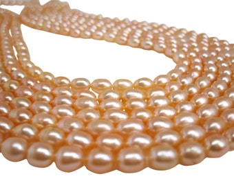 Peach Pearls, Peach Color Freshwater Pearls, Rice Shape, SKU 4728