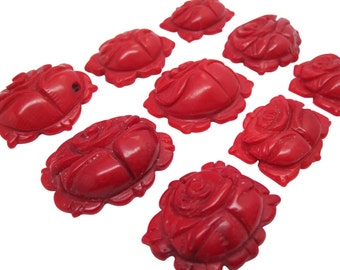 Red Coral Pendant, Carved Coral Pendant, Carved Coral Flower Pendant, Red Gemstone, Coral Pendant,  Loveofjewelry, SKU 3647
