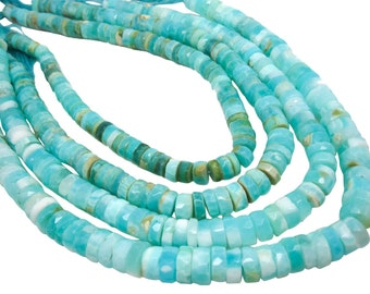 Blue Peruvian Opal Beads, Faceted Heishi, Wholesale Opal, Blue Opal Heishi, SKU 4813