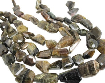 Green Tourmaline Beads, Faceted nuggets, October Birthstone, SKU 3784