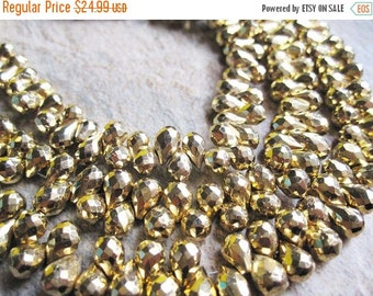 SALE Gold Pyrite Beads Briolettes, Luxe AAA, Faceted Teardrops, 4mm x 6mm, Fools Gold, Weddings, Brides Bridal, Loveofjewelry, SKU 2842