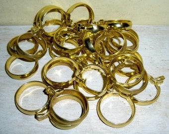 """Cafe Curtain Rings Brass lot 30 window treatment hardware 1"""" inch vintage pinch clip"""