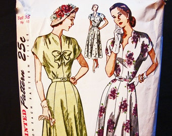 1940s Dress Pattern Bust 38 Simplicity Day or Evening, Cap Sleeve, Scalloped Neckine, Womens Vintage Pattern Sewing 40s
