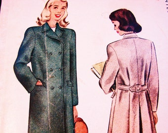 1940s Girls Winter Coat Pattern size 8 Lined Double Breasted Coat Pattern with Pockets 40s Sewing Pattern