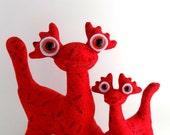Alien Toys, Monster Toys, Stuffed Animal, Alien Plush, Pair, Set, Dragon Toys by Adopt an Alien named Kingston and Kandell