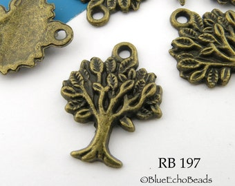 Small Tree of Life Charm Antiqued Brass. Antiqued Bronze 21mm Lead Free, Nickel Free (RB 197) 10 pcs BlueEchoBeads