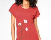 Poppies Art T-shirt, Women's Graphic Tee, White Poppies, Tomato Red, Dolman short sleeve, Gift for her