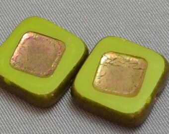Avocado Green Square Beads with copper finish center and edge 14mm (2)