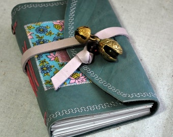 Small Blue Leather Journal with Bells