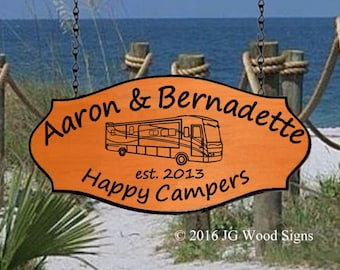 RV Outdoor Sign - Motorhome or your choice of RV - Happy Campers -  Custom  Camping Sign - Family Name Sign