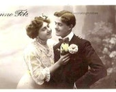 BEST WISHES - LOVERS- Elegant Couple, Fashion - Vintage French real photo black and white Postcard, written, Art Nouveau - Good condition
