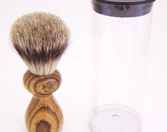 Bocote Wood 16mm Silvertip Badger Travel Brush  (Handmade in USA)  B2 - Gift for Him - Executive Gift - 5th Anniversary - Wood Shaving Brush